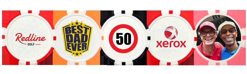 Pokerchip golfbalmarkers bedrukken