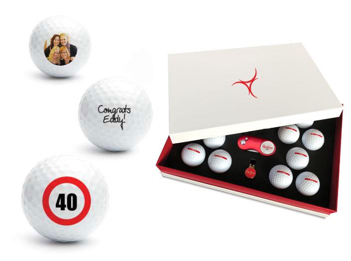 Golf-Geschenkbox mit 12 bedruckten Golfbällen