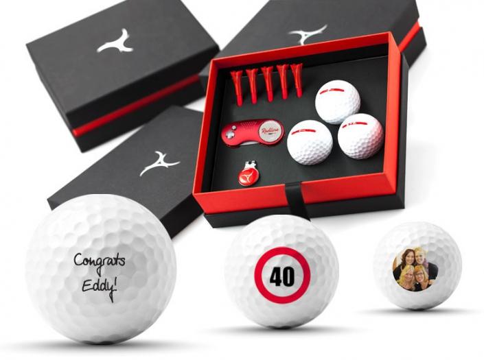 Golfgeschenk mit bedruckten Golfbällen