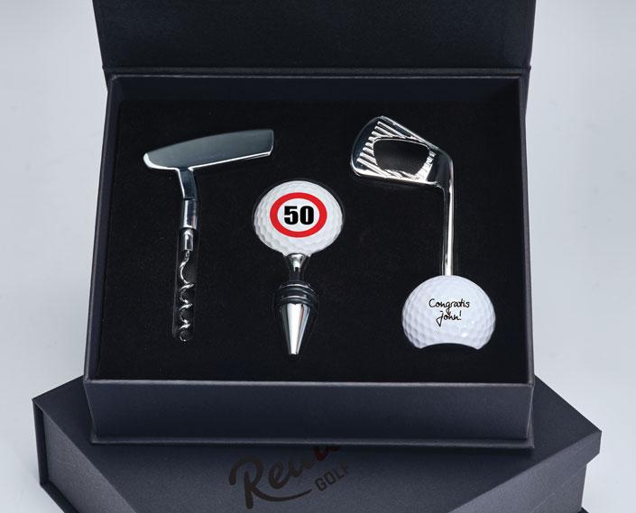 Golfgeschenkbox mit Flaschenöffner