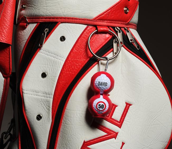Golfgeschenk Golfballhalter mit bedruckten Golfbällen